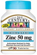 21st Century Chelated Zinc 50mg (110таб)